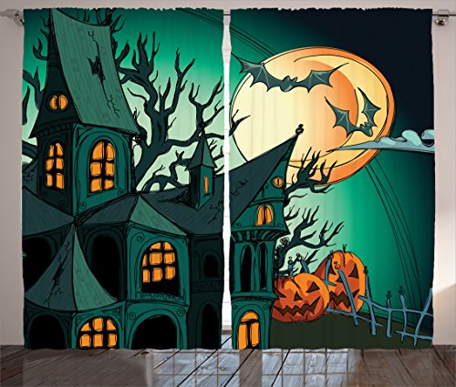 Ambesonne Halloween Curtains, Haunted Medieval Cartoon Style Bats in Twilight Gothic Fiction Spooky Art Print, Living Room Bedroom Window Drapes 2 Panel Set, 108 W X 84 L Inches, Orange Teal