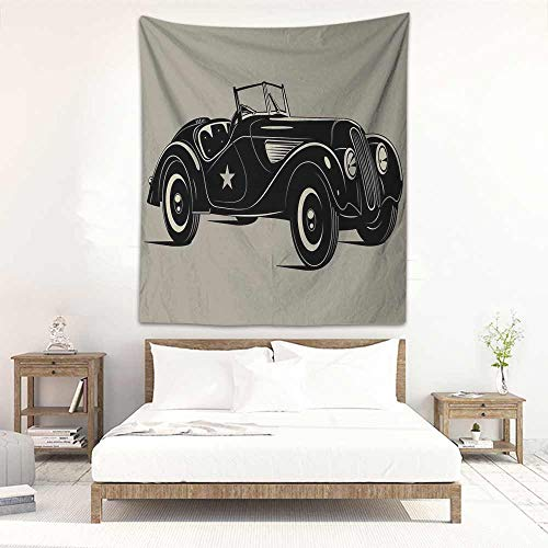 Godves Decorative Tapestry Cars Classic Italian Model Nostalgic Car 50s Star Sign Pop Art Hobby Old-Fashion Image Wall Tapestry for Bedroom 60