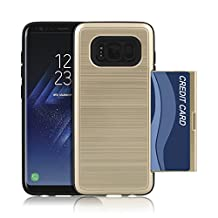 [$5 OFF THIS WEEK] Galaxy S8 Premium Card Holder Case - Protect and Stylize your Phone - Wallet Style Dual Layer Protection for Samsung Galaxy S8 2017 (Gold)