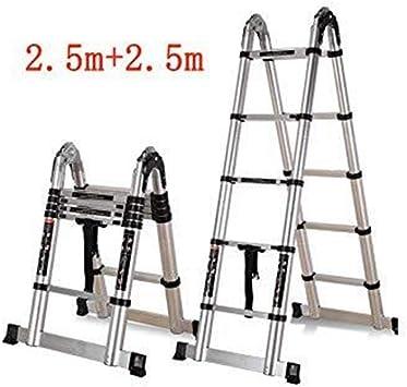Escalera telescópica, Escalera de Hogares Fold aleación de aluminio recta Escalera Portable fácil Ingeniería escalera doble cara (Color : 2.5m+2.5m): Amazon.es: Bricolaje y herramientas