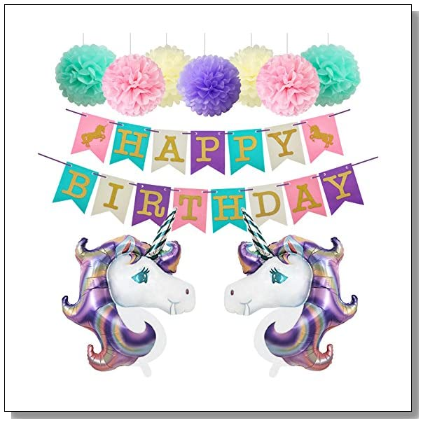 Unicorn Birthday Party Decorations Foil Balloons Glitter Happy Banner Paper Pom Poms Kit