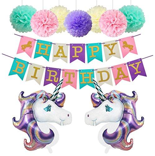 Unicorn Birthday Party Decoratios Foil Balloons Glitter Happy Birthday Banner Paper Pom Poms Kit