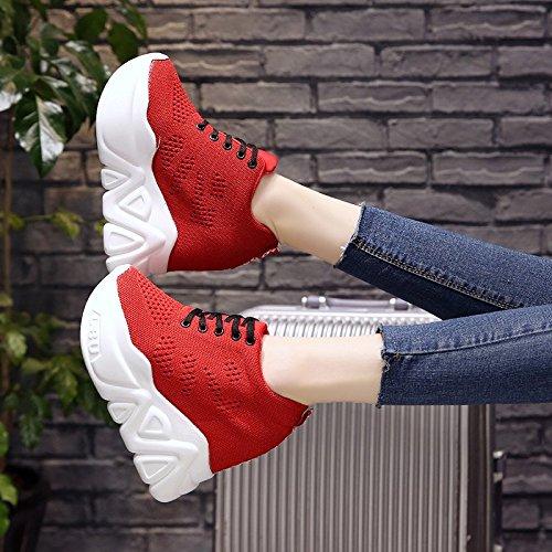 Vulcanisées Sport Baskets amp;g Casual Pente Red Ngrdx Chaussures Des De La Shoelace Respirante Femme Léger Avec AF7nwf