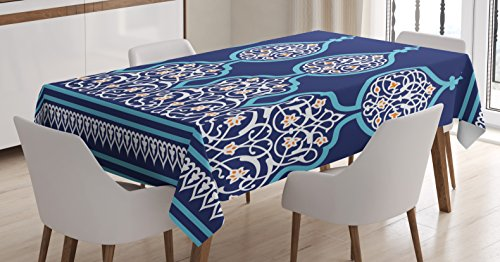 Moroccan Tablecloth Decor by Ambesonne, Bohemian Style Old Middle Eastern Turkish Figures Mystical Ornamental Image, Dining Room Kitchen Rectangular Table Cover, 60 W X 90 L Inches, Teal Royal Blue