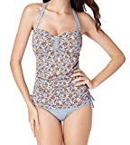 Attraco Womens Halter Neck One Piece Swimwear Floral High Cut Push Up Swimsuit