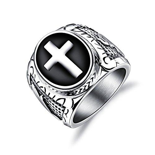 Fate Love Stainless Steel Men Black Silver Christian Holy Cross Prayer Ring Size 7-12 Black Enamel Cross Ring