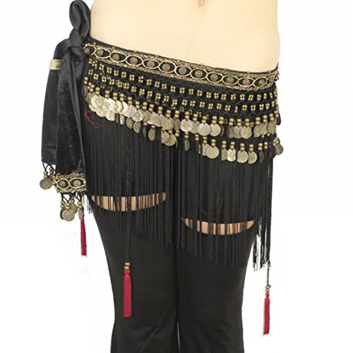 Pilot-trade Women's Big Noise Belly Dance Tribe National Style Belt Tassel Hip Scarfs Velvet Waist Small Black (Fringe Hip Belt)