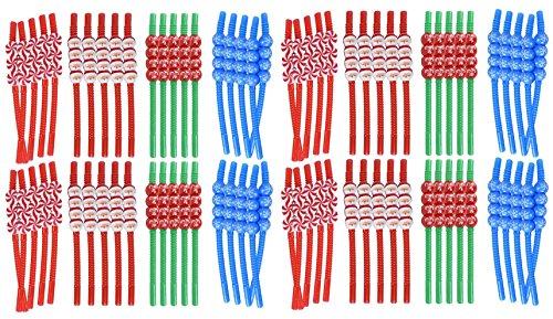 Set of 80 Christmas Reusable Straws! Santa, Snowflake, Peppermint, Candycane - 8.25