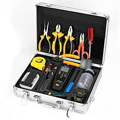 Fiber Optic Assembly Cable Welding Termination Tool Kit for Splicer 28 in 1 Cold Connection Tool with the SKL-6C Fiber Cleaver 10mW Visual Fault Locator APM-820 Optic Power Meter Fiber Stripping Tool