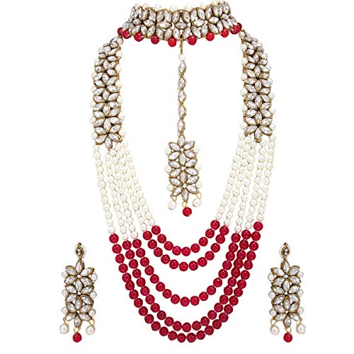 (CROWN JEWEL Indian Fashion Bridal Wedding Pearl 4 pc Combo Jewelry Gold Necklace Earring Set (Red))