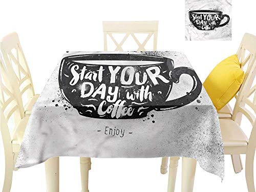 Davishouse Fabric Dust-Proof Table Cover Start Your Day Quoted Mug Washable Polyester - Great for Buffet Table, Parties, Holiday Dinner, Wedding & More W50 x L50