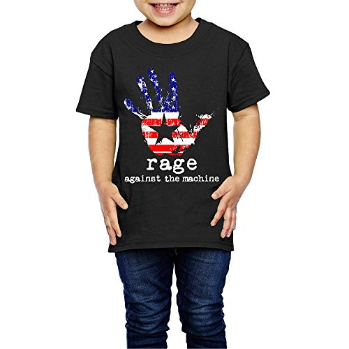 AK79 Children 2-6 Years Old Boys And Girls Rage Against Logo Machine Tee Black Size 4 Toddler