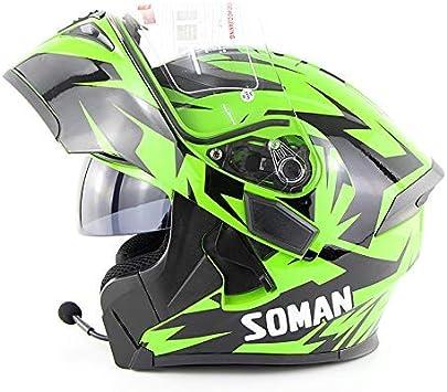 Sooiy Bluetooth Integrated Modular Flip Up Full Face Motorrad Helm Intercom Sonnenschutz Mp3 Motorradhelm Grün Xxl Küche Haushalt