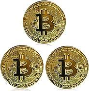 3 monedas Bitcoin – Criptomoneda de cadena de bloques física de oro en regalo coleccionable protector   con fi