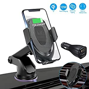 Wireless Car Charger Mount, FUNUSE Auto Clamping 7.5W /10W Fast Charging Qi Car Phone Holder Air Vent Dashboard Compatible iPhone Xs/Xs Max/XR/X/ 8/8 Plus, Samsung Galaxy S10 /S10+/S9 /S9+/S8 /S8+