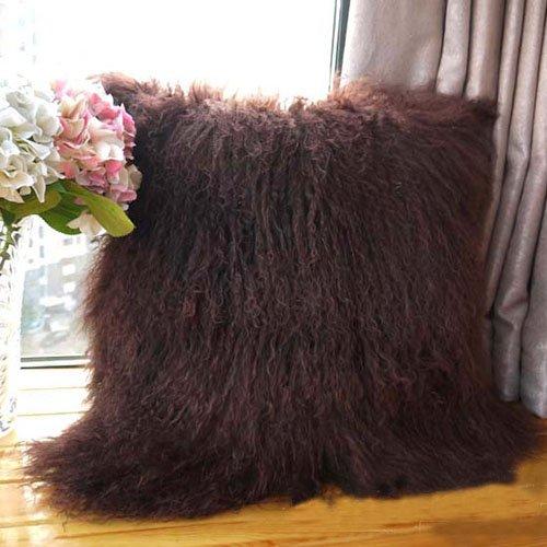 - ROSE FEATHER Real 100% Tibetan Mongolian Lamb Sheepskin Wool Fur Super Soft Plush Leather Pillowcase Cushion Cover (20x20inch, Brown)