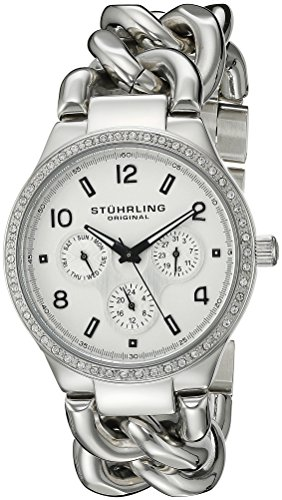 - Stuhrling Original Women's 813S.01 Vogue Renoir Quartz Day and Date Swarovski Crystal-Accented Stainless Steel Chain-Link Bracelet Watch