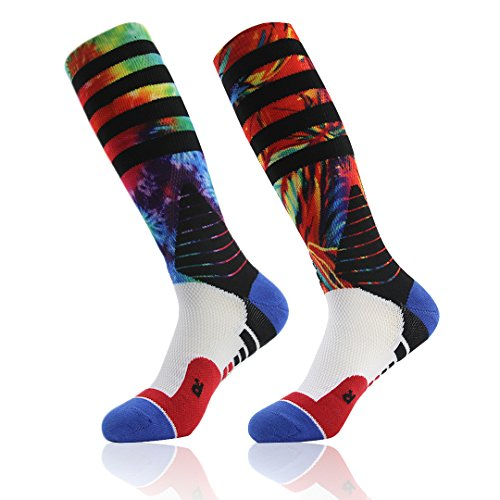 f3fc3709f4b J colour Unisex Cushioned Basketball Socks Novelty Digital Print Knee High  Team Athletic Sports Socks