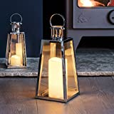Lights4fun Large Stainless Steel Battery Operated LED Candle Lantern 28cm
