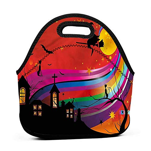 Tote Waterproof Outdoor Halloween,Witch Woman on Broomstick,name brand lunch bag for men -