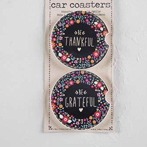 Set of 2 Be Thankful /& Be Grateful CST037 Natural Life Floral Car Coasters
