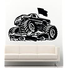 NEW Cool Wall Decals Monster Truck Jam Man Cave Home Office Vinyl Stickers Mural MK1518