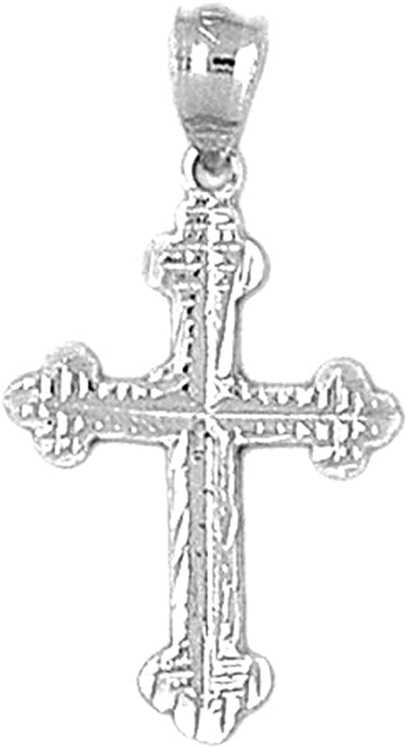 Rhodium-plated 925 Silver Budded Cross Pendant with 18 Necklace Jewels Obsession Silver Cross Necklace
