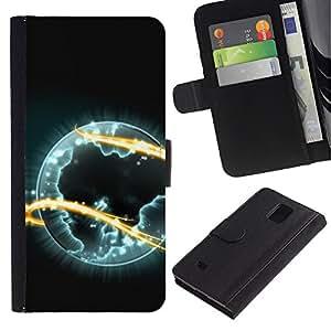 """Samsung Galaxy Note 4 IV / SM-N910 , la tarjeta de Crédito Slots PU Funda de cuero Monedero caso cubierta de piel ("""" Alien Planet Universe Eternity Fire Symbol Art"""")"""