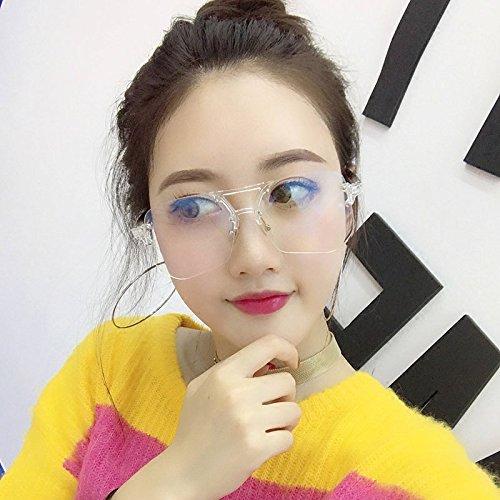Sunyan La tendance sans frontières verres transparents fort makeup sharawadgi oncle Wang Liuwen net froid lunettes de soleil rouge.