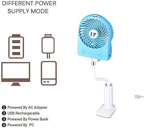 Office Travel and Outdoor-Green YANGYA USB Clip On Desktop Fans Portable Stroller Mini Personal with Rechargeable Quiet Desk Fan for Home