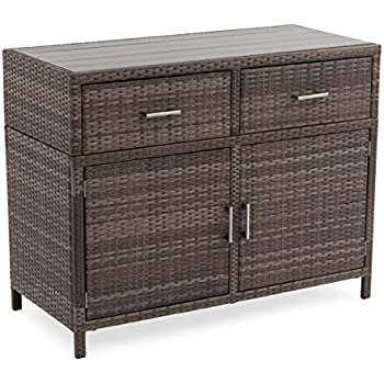Amazon Com Wicker Rattan Buffet Serving Cabinet Table