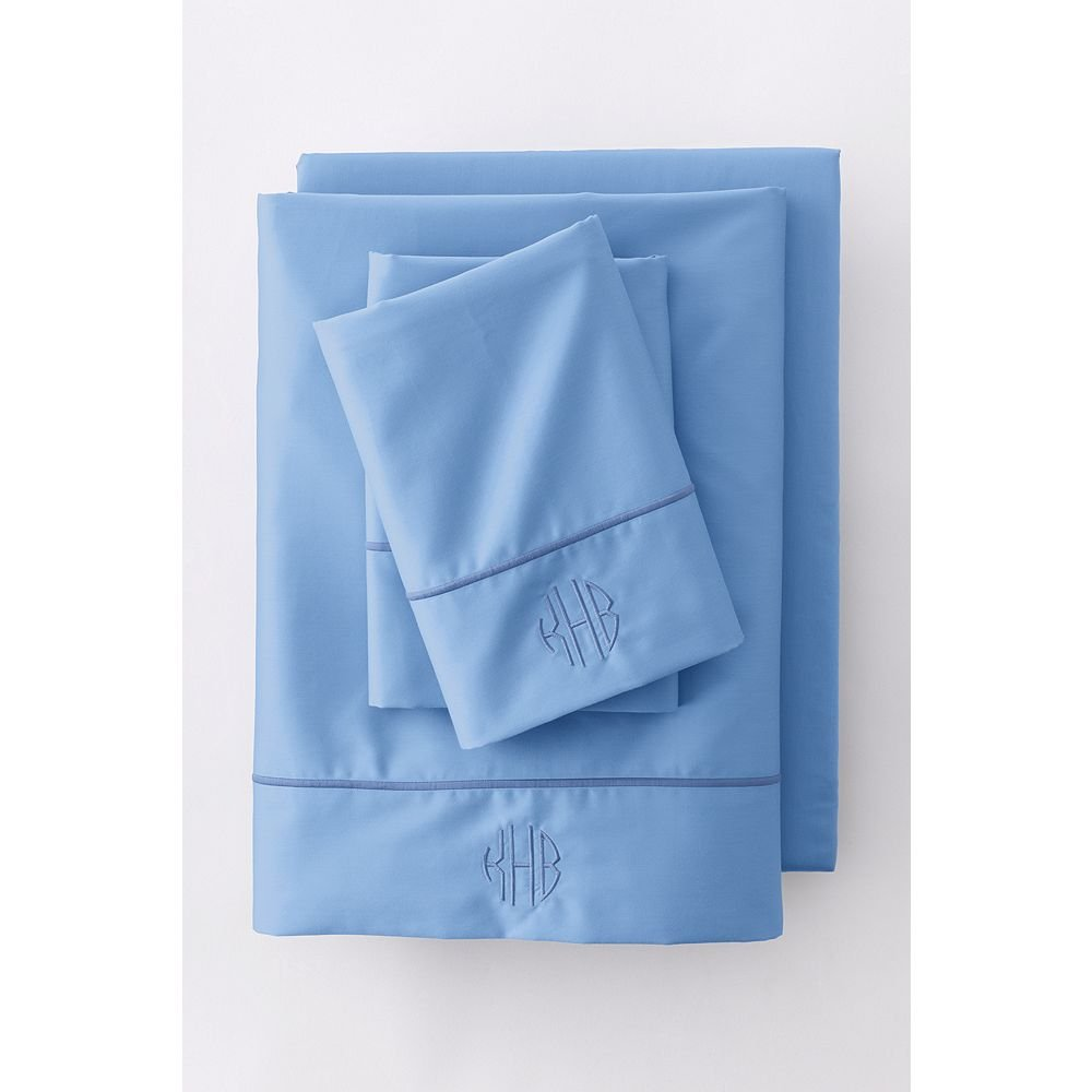Lands' End No Iron Supima Solid Sheets, K, Light Lake Blue