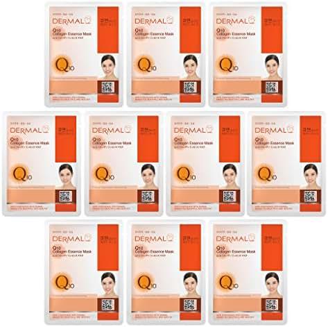 DERMAL Collagen Essence Facial Mask Sheet 23g Pack of 10 - A (Q10)