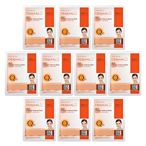 - DERMAL Collagen Essence Facial Mask Sheet 23g Pack of 10 - A (Q10)