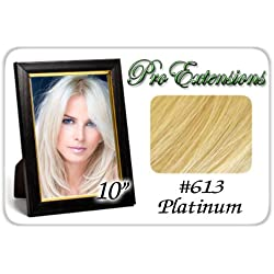 "Pro Extensions 10"" #613 Platinum Blonde Clip-in Human Hair Extensions"