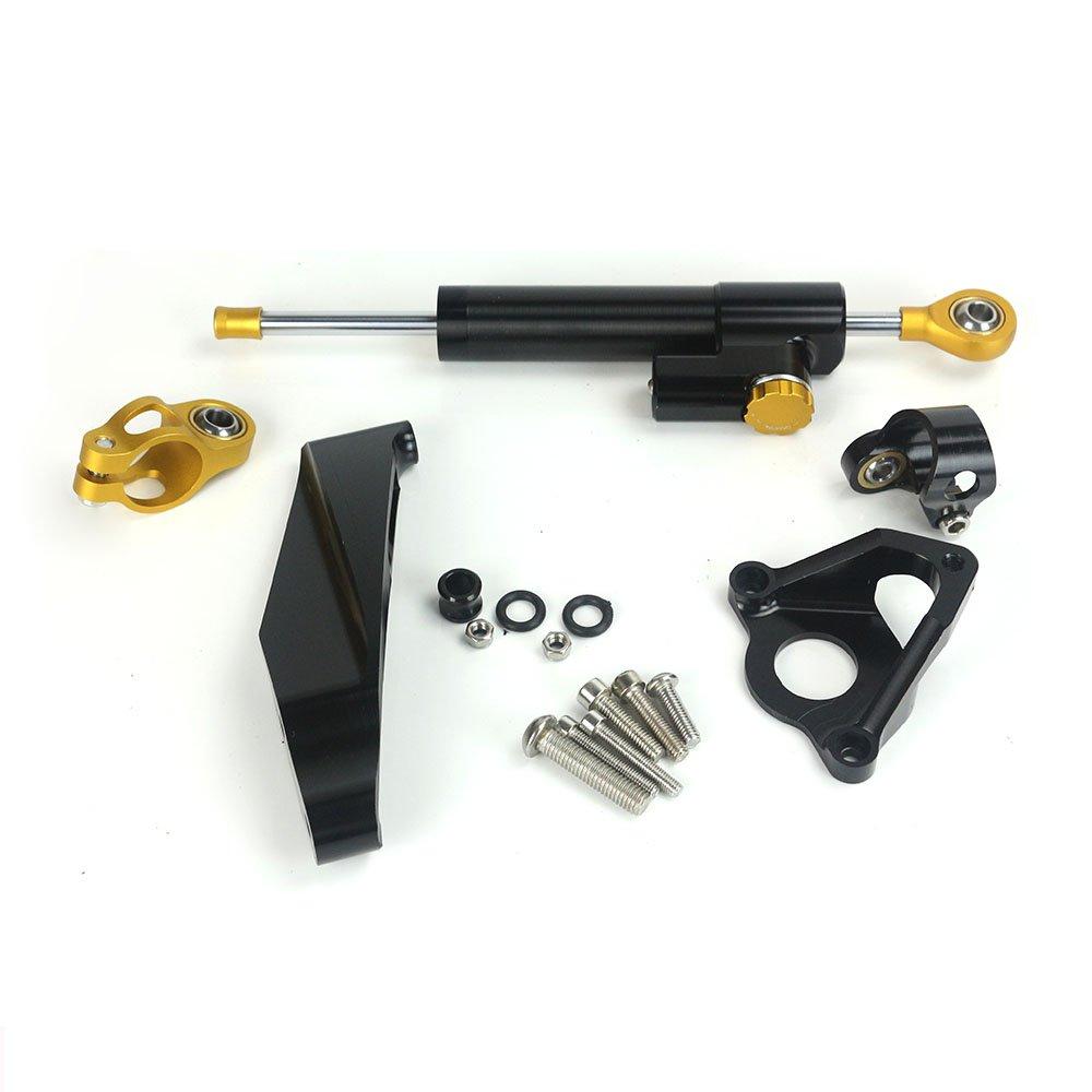 CNC Steering Damper Stabilizer with Bracket Mounting Holder for Honda CBR600RR CBR600 RR 2007 2008 2009 2010 2011 2012 2013 2014 2015 2016 (CBR600 07-16, Black)