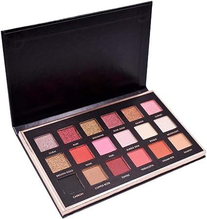 Biback 18 colores mate paleta de sombra de ojos a prueba de agua de larga duración Shimmer paleta de sombra de ojos en polvo altamente pigmentado conjunto de maquillaje: Amazon.es: Belleza