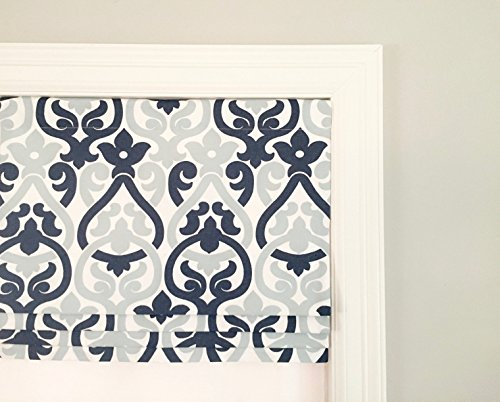 Faux (Fake) Roman Shade Valance With Lining. Premier Alex Navy. Pale Blue, Navy And White.