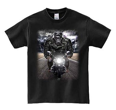 【ノーブランド品】【ゴリラ バイク ヘルメット】 ブラック Lサイズ メンズ 半袖 T