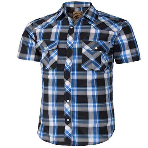 (Coevals Club Men's Short Sleeve Casual Western Plaid Snap Buttons Shirt (2XL, 19#Balck,Bule))