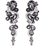 BriLove Wedding Bridal Dangle Earrings for Women Bohemian Boho Crystal Multiple Teardrop Chandelier Long Earrings Silver-Tone Grey Black