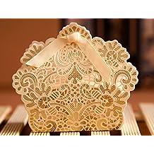PONATIA 50pcs/Lot Laser Cut Favor Candy Box With Ribbons Bridal Shower Wedding Party Favors Gold Color