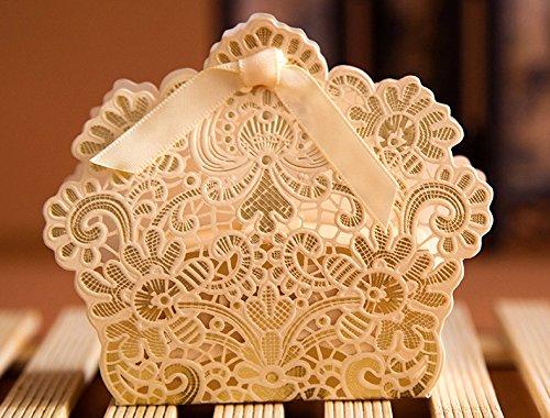 PONATIA 50pcs/Lot Laser Cut Favor Candy Box With Ribbons Bridal Shower Wedding Party Favors Gold (Ribbon Wedding Favor Decor)