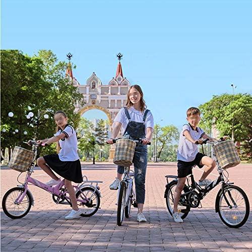 SYLTL Folding Bicicleta Doble Freno de Disco Unisex Bicicleta Plegable Adecuado para Altura 120-170 cm 20 Pulgadas ...