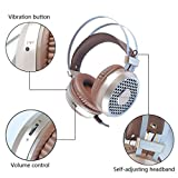 ShenStore Gaming Headset,3.5mm 7.1 Surround Sound Super Bass Vibration Led 4D Gamer Headphone for PC with Micophone In-line Control