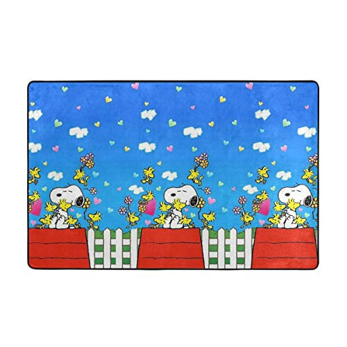 Large Non-Slip Area Rug Snoopy Heart Cartoon Carpet Living Room Rugs Floor Mat Doormats 60 X 39 Inches ()