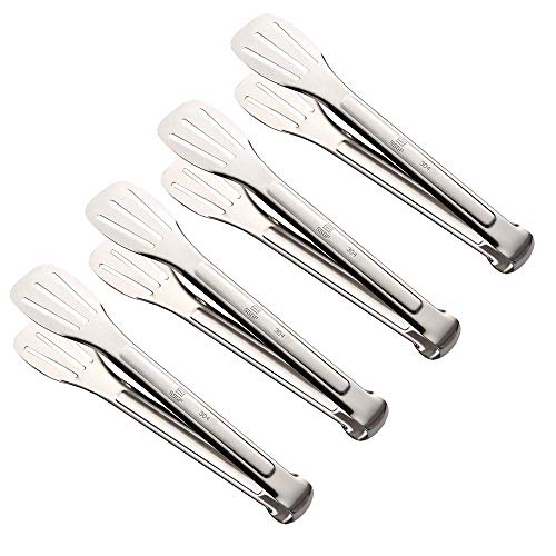 Premium Kitchen Tongs Set of 4-9.45 Inch,ANG 304 Stainless Steel Cooking Tongs for Salads, Barbecue, Toast Bread, Pastry, Sandwich