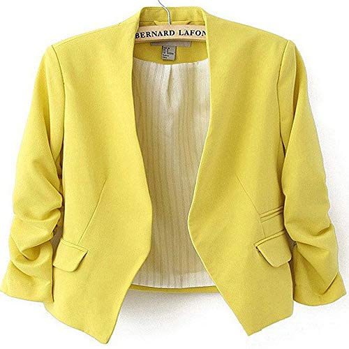 Womens Candy Color Ladies Coat Slim Solid Puff Sleeve Blazers Basic ()