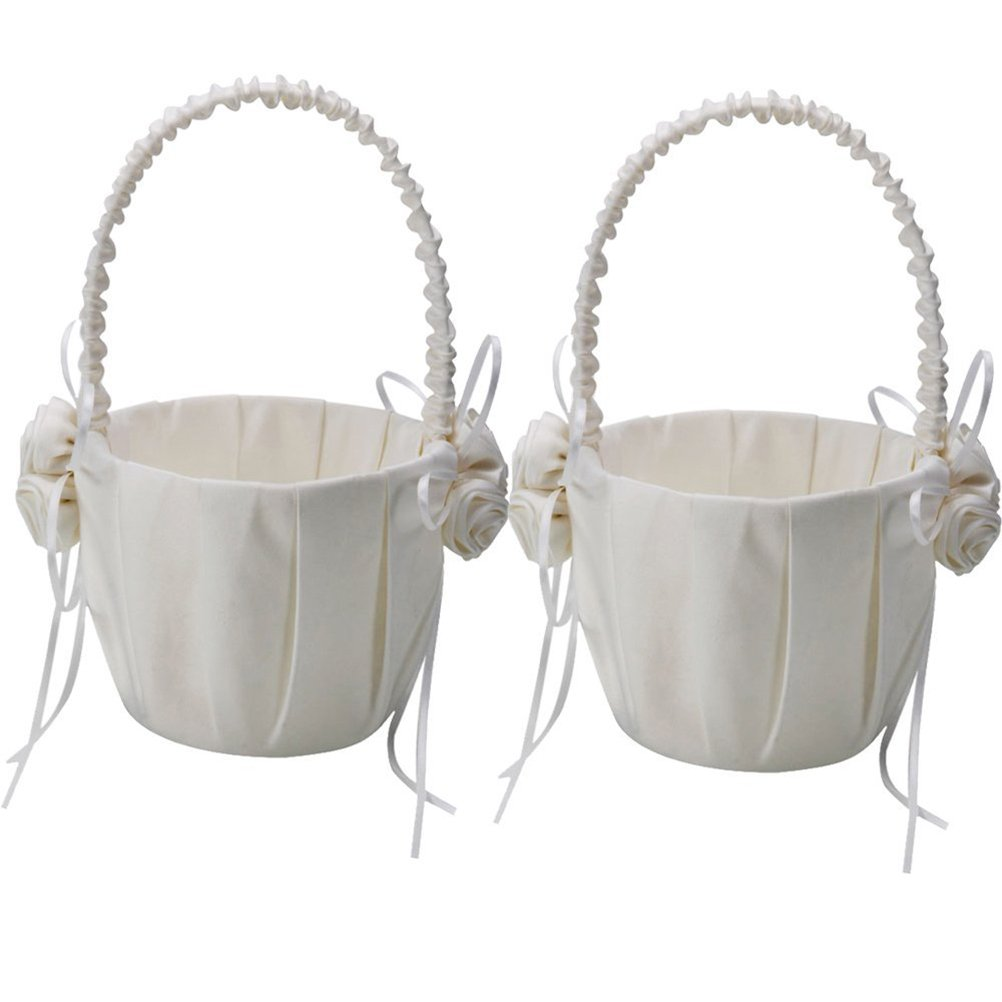 OULII 2-Pack Wedding Satin Flower Girl Basket Ivory With Rose Decorated