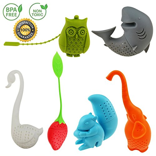 Creative Cute Animal Eco-friendly Silicone Tea Infuser Strainer Set of 6 PCS Elephant Shark Swan Squirrel Strawberry Owl Tea Steeper Tea Lover's Gift Silicone Tea Infuser